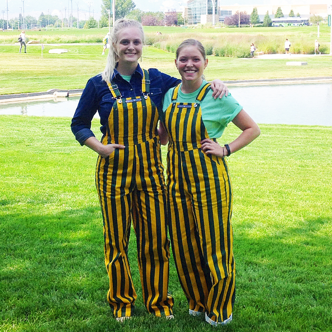 Image For Gamebibs Green and Gold Striped Unisex Overalls