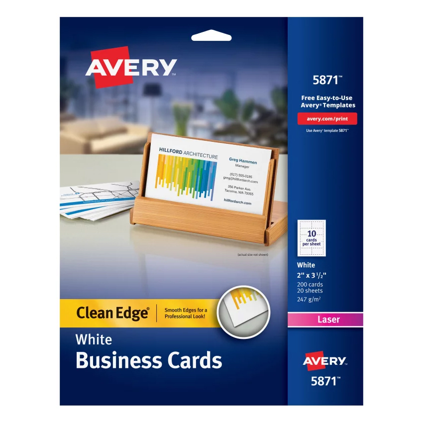 Image For Avery Clean Edge Business Cards- White