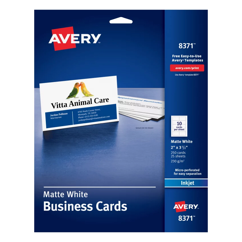 Image For Avery Business Cards- Matte White