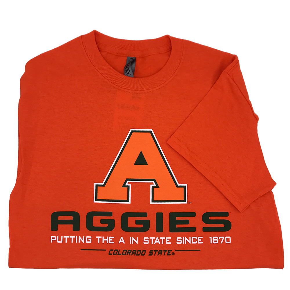 "Image For CSU ""A in State"" Unisex Orange Out T-Shirt by Ouray"