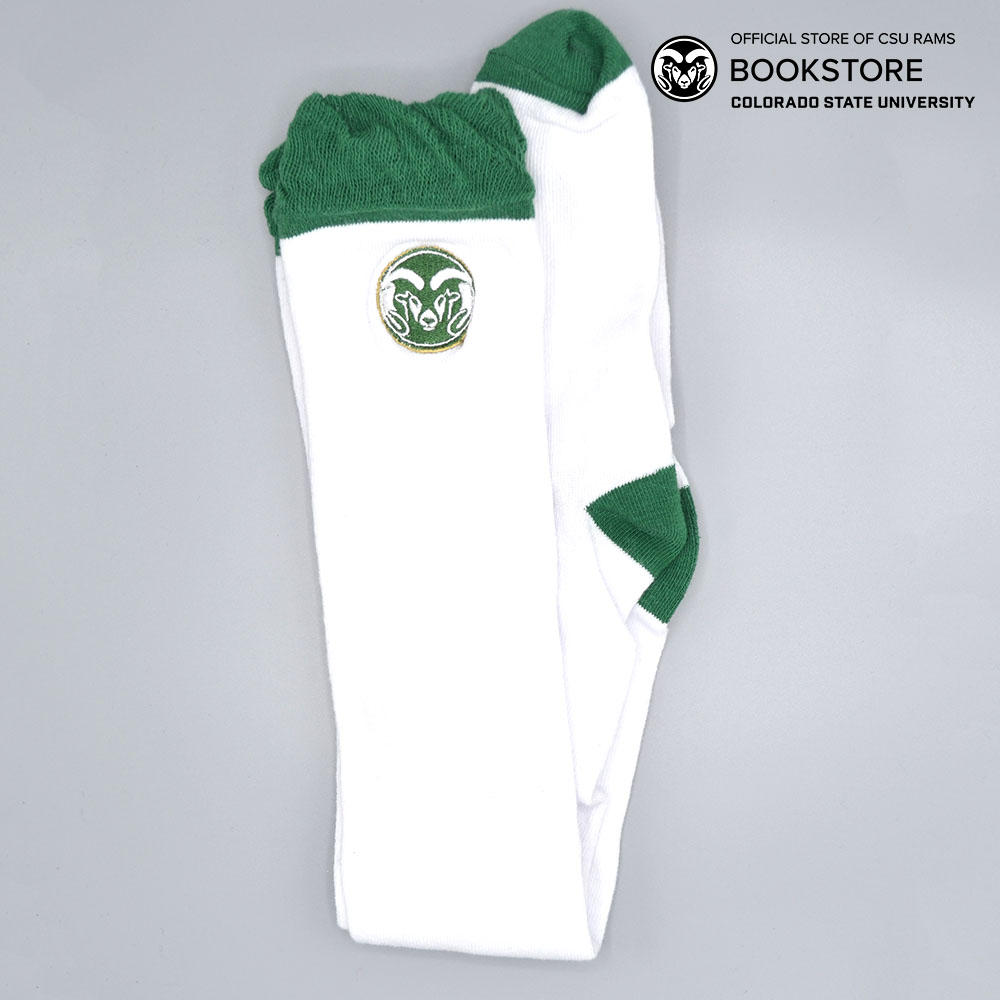 Image For CSU White/Green Ruffle Socks