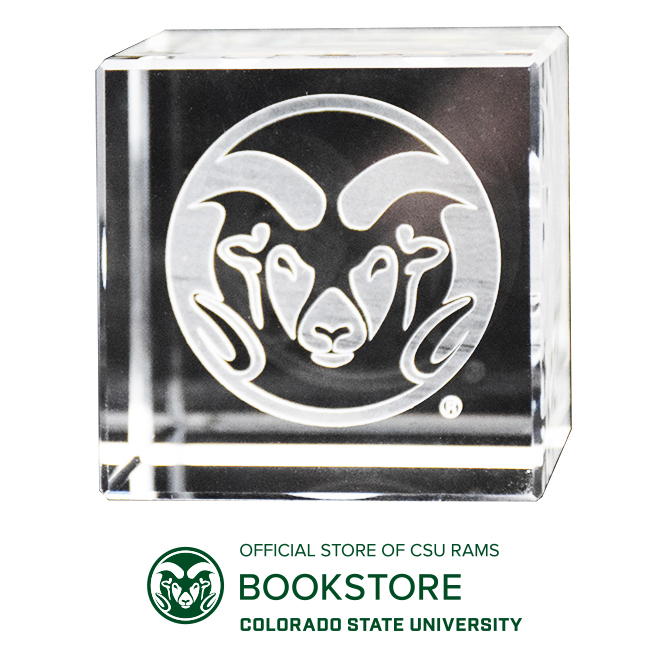 Image For CSU Laser Engraved Ram Head Logo Crystal Cube