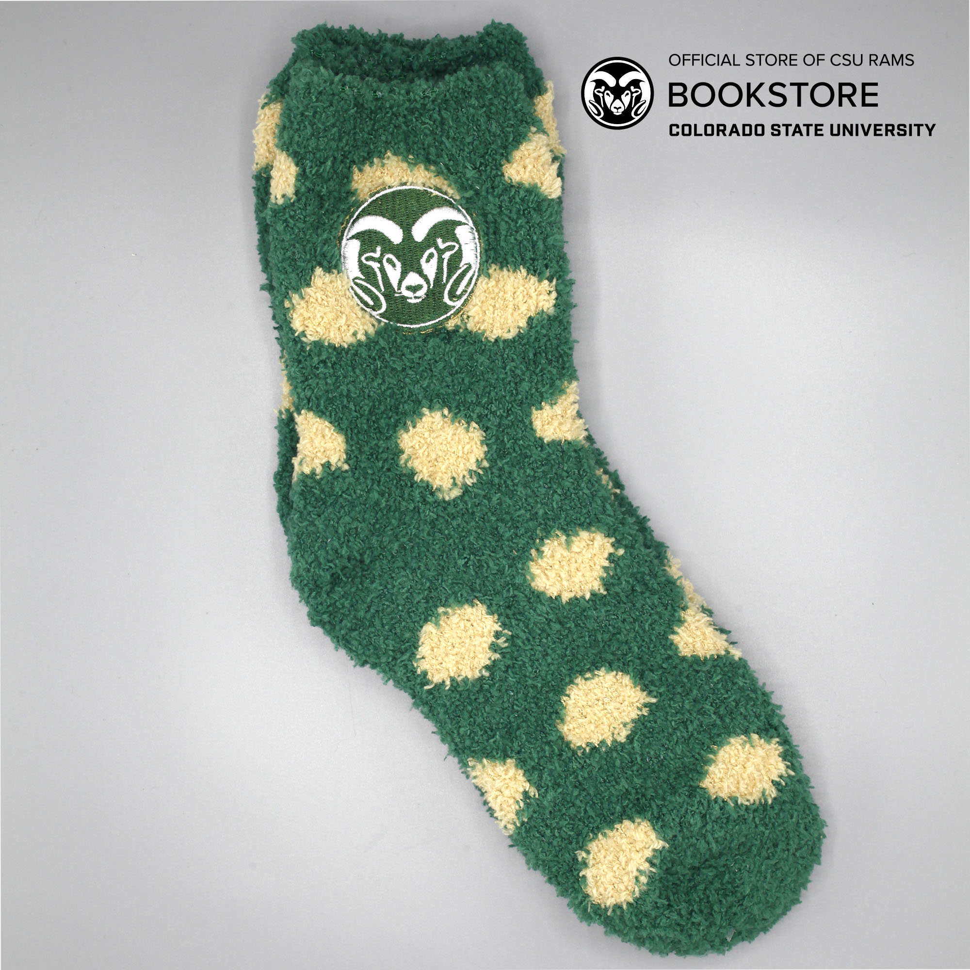 Image For CSU Rams Green and Gold Fuzzy Dot Socks