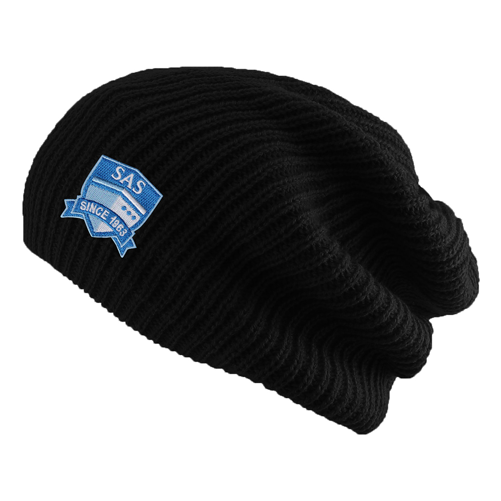 Cover Image For Black SAS Knit Hipster Slouch Beanie from LogoFit