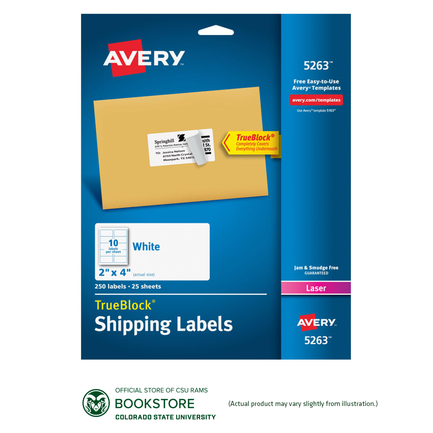 "Image For Avery® TrueBlock® 2"" x 4"" White Laser Shipping Labels"