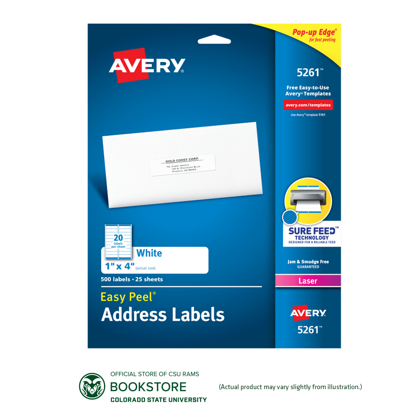 "Image For Avery 1"" X 4"" Easy Peel White Address Labels 500 ct."