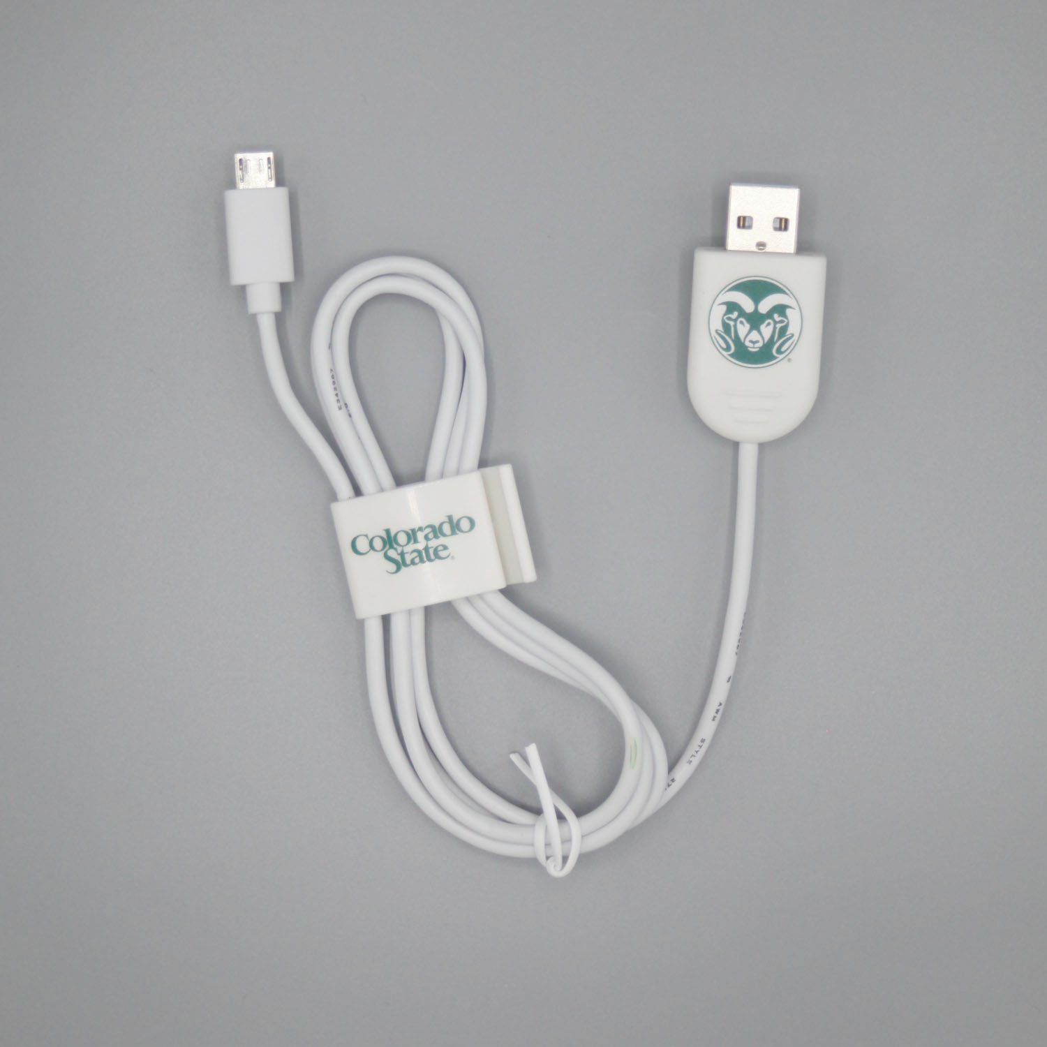 Image For Colorado State White Micro USB Cable