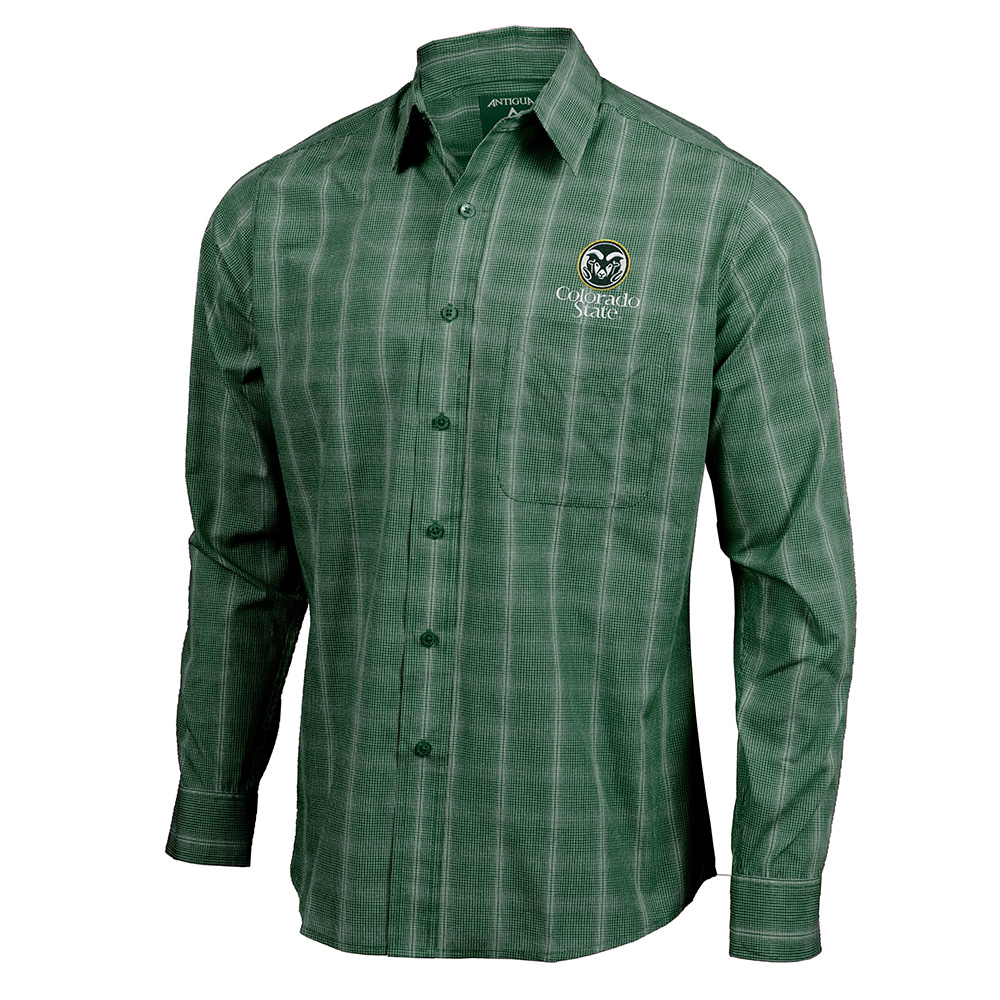 Image For Pine Green CSU Woven Button-Up Shirt by Antigua