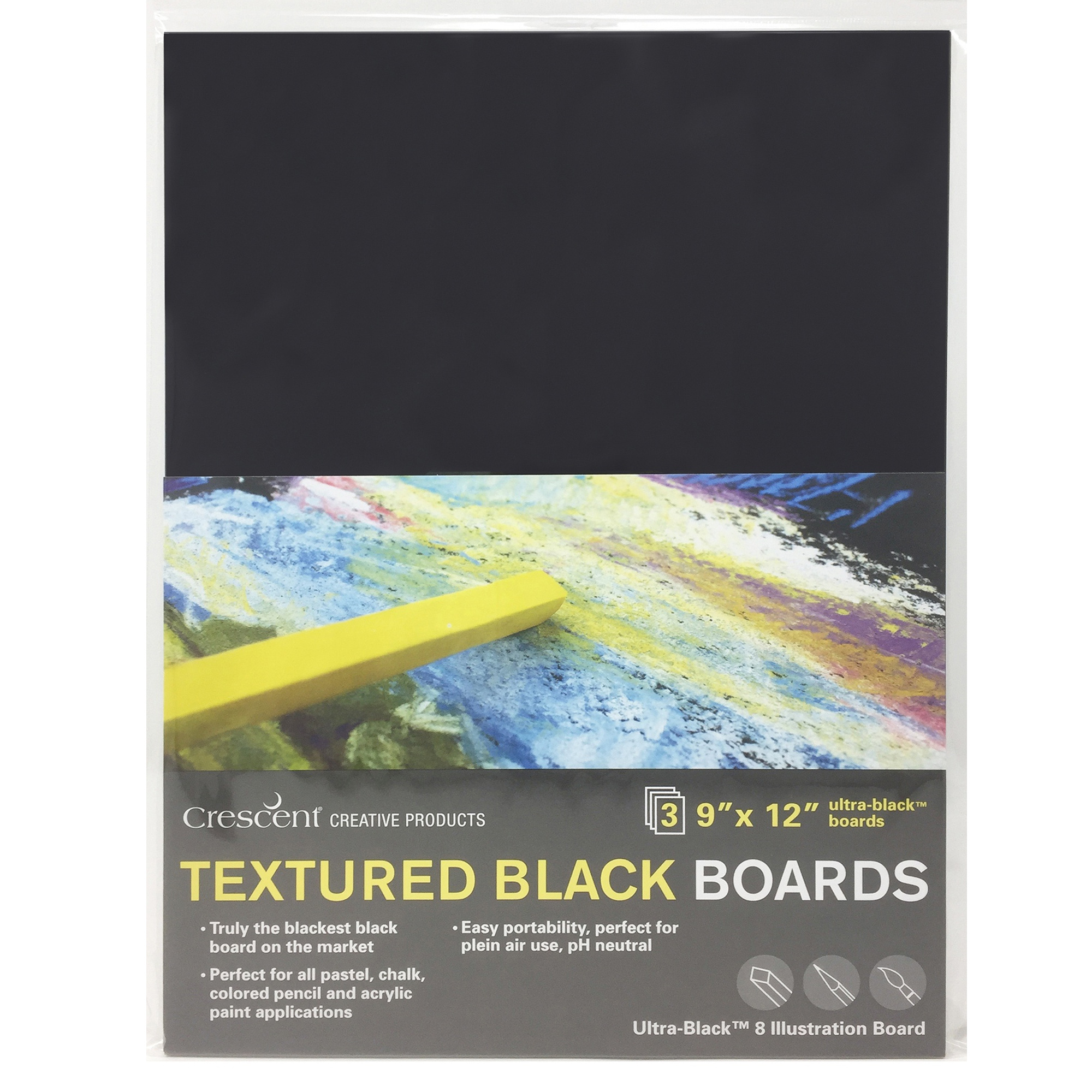 "Image For 3 pack 9""x12"" Textured Black Boards by Crescent"