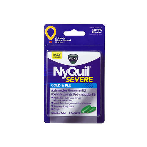 Image For NyQuil Severe Cold and Flu Nighttime Relief Caplets