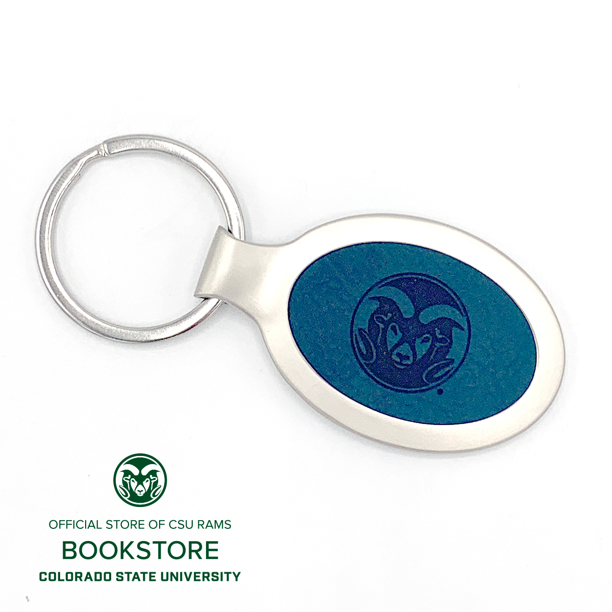 Image For Velour Oval Rams Logo Engraved Key Tag