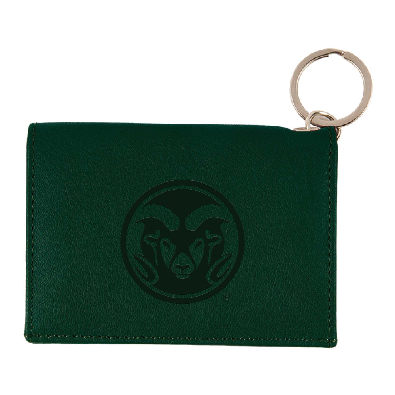 Image For Forest Green Colorado State University Leather ID Holder