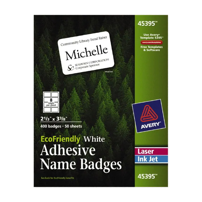 Cover Image For Avery Eco-Friendly White Adhesive Name Badges