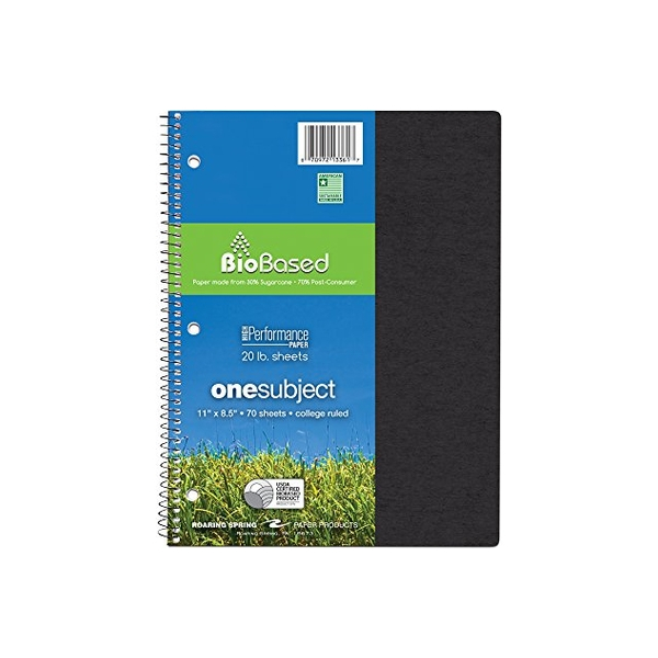Image For BioBased Spiral 1 Subject Notebook