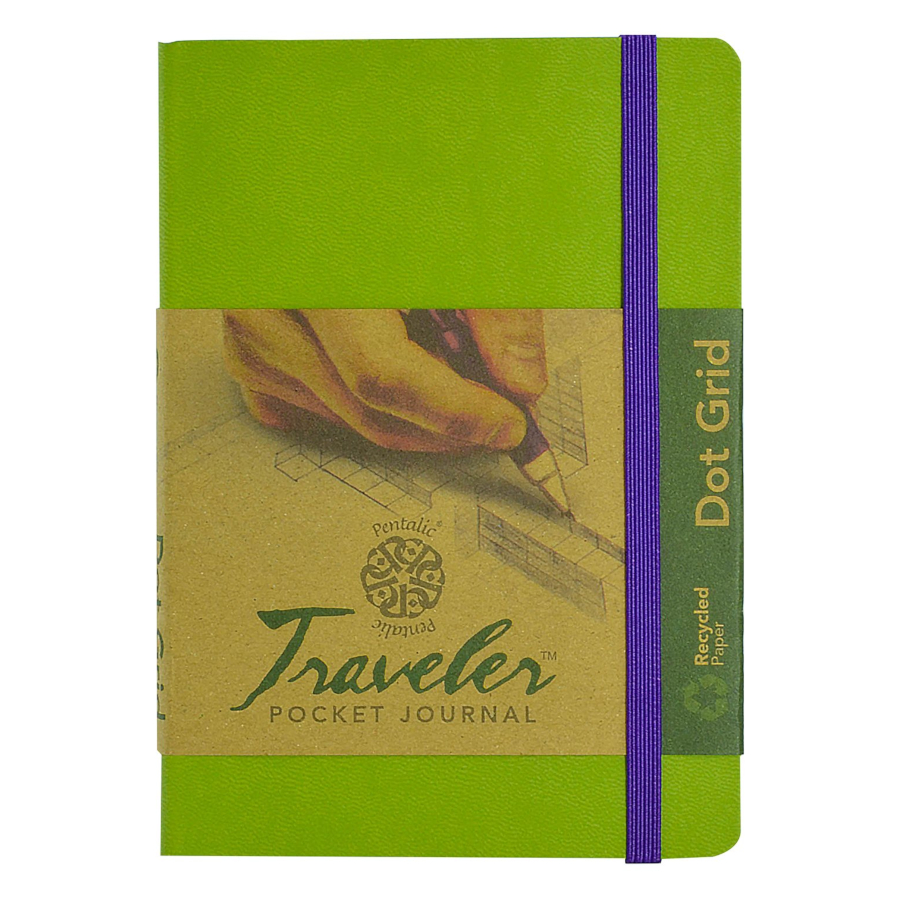 Image For Pentalic Traveler Pocket Journal Olive Green