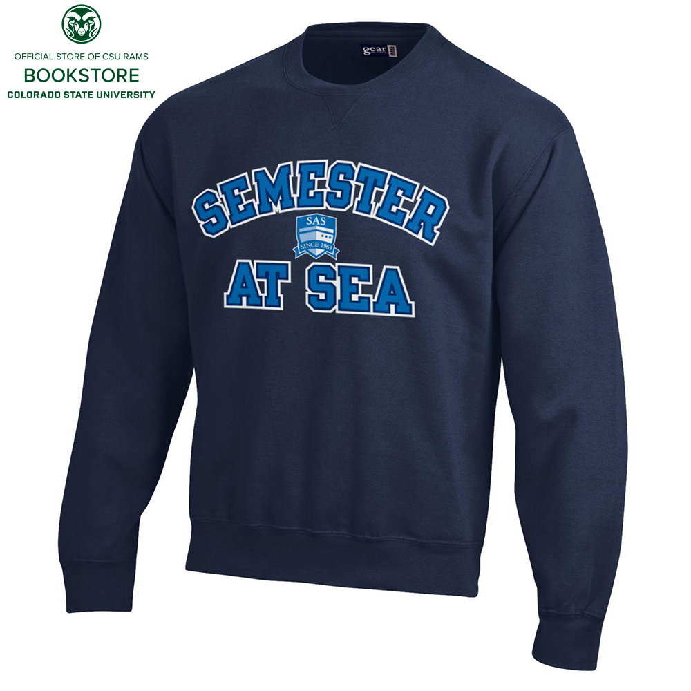 Image For Navy Cotton Crew Semester at Sea Sweatshirt by Gear