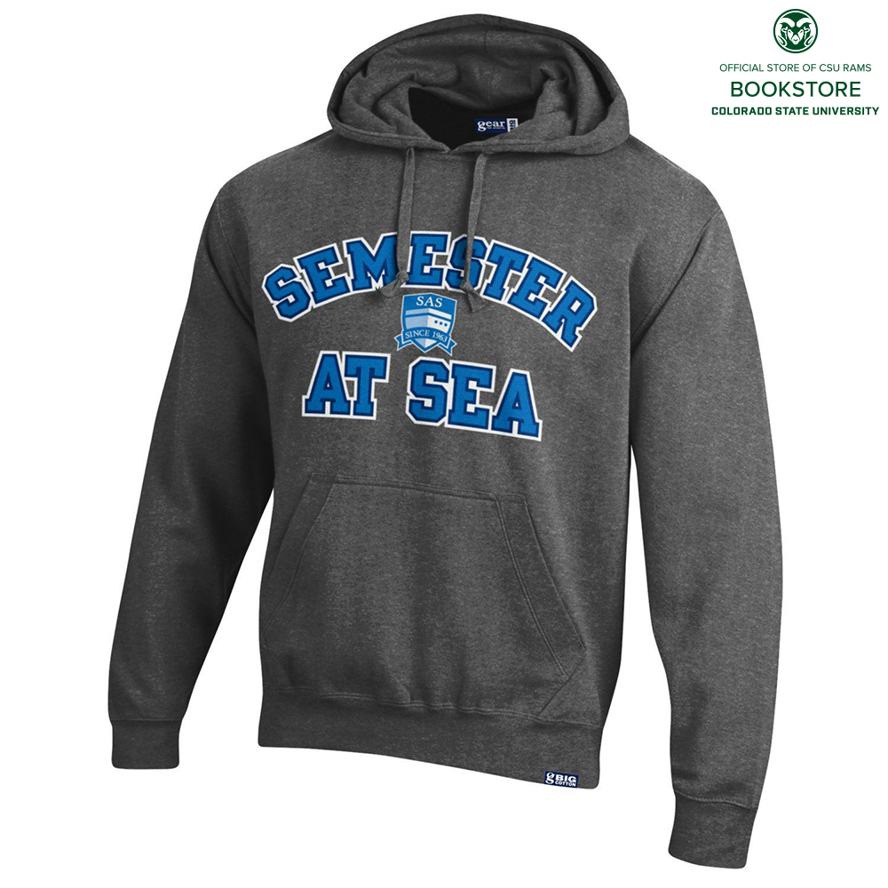 Image For Semester at Sea Heather Charcoal Cotton Hoodie