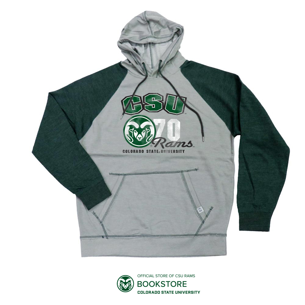 Image For Grey and Green CSU Rams Vintage Wash Hoodie by CI Sports