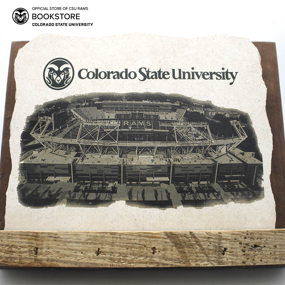 "Image For 8"" Canvas Stadium Limestone Sign with Wooden Stand"