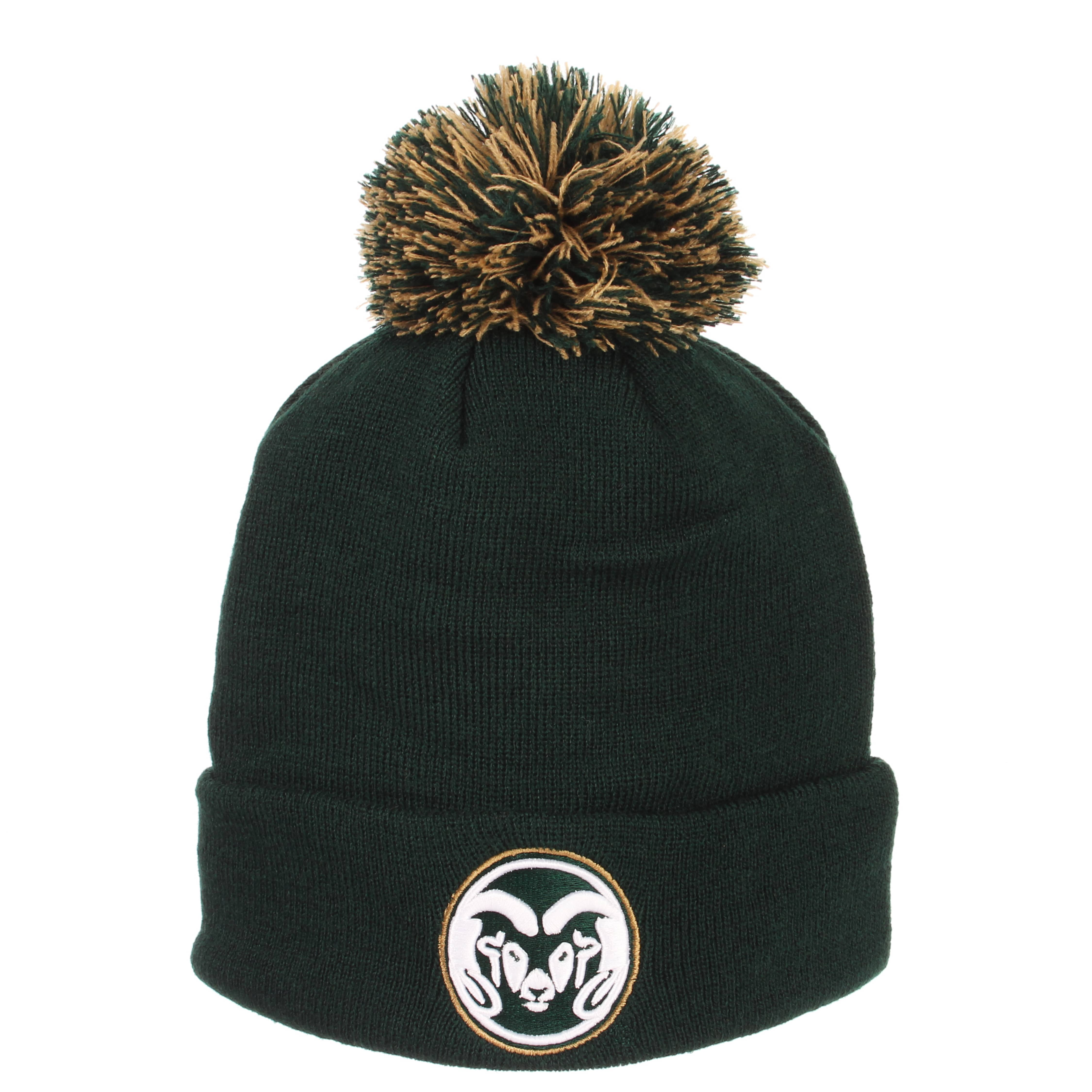 Cover Image For Forest Green Colorado State Ram Head Pom Beanie