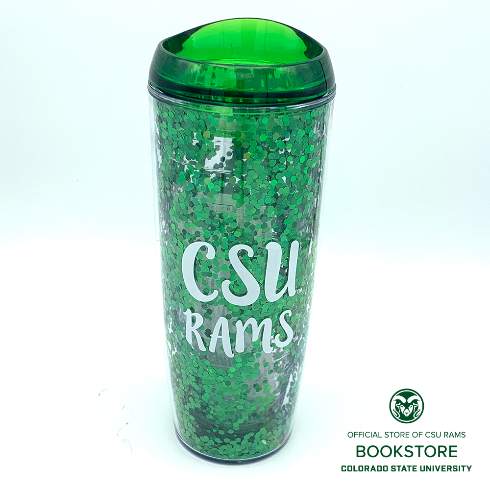 Image For 24oz Green Glitterati CSU Tumbler