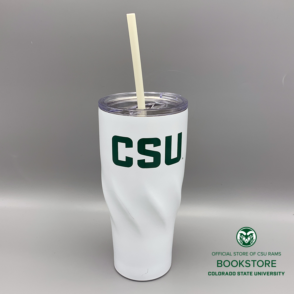Image For 24oz White CSU Tumbler With Straw
