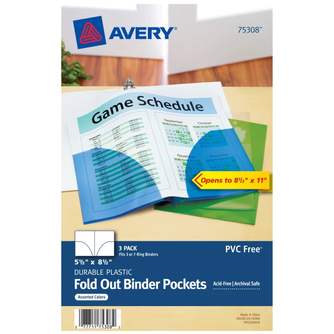 Image For Avery Mini Fold Out Binder Pockets