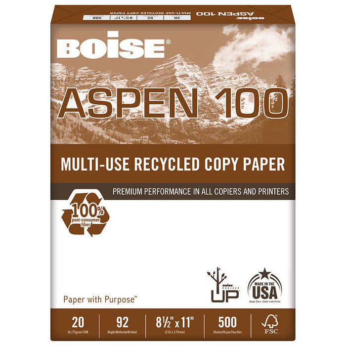 Image For Boise Aspen 100 Multi-Use Recycled Copy Paper