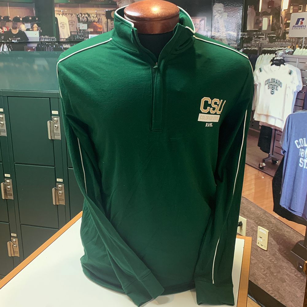 Image For CSU Forest Green Piped 1/4 Zip Sweatshirt