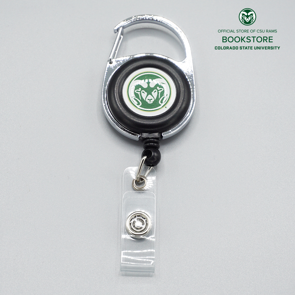 Image For Black CSU Carabiner Retractable Badge Holder