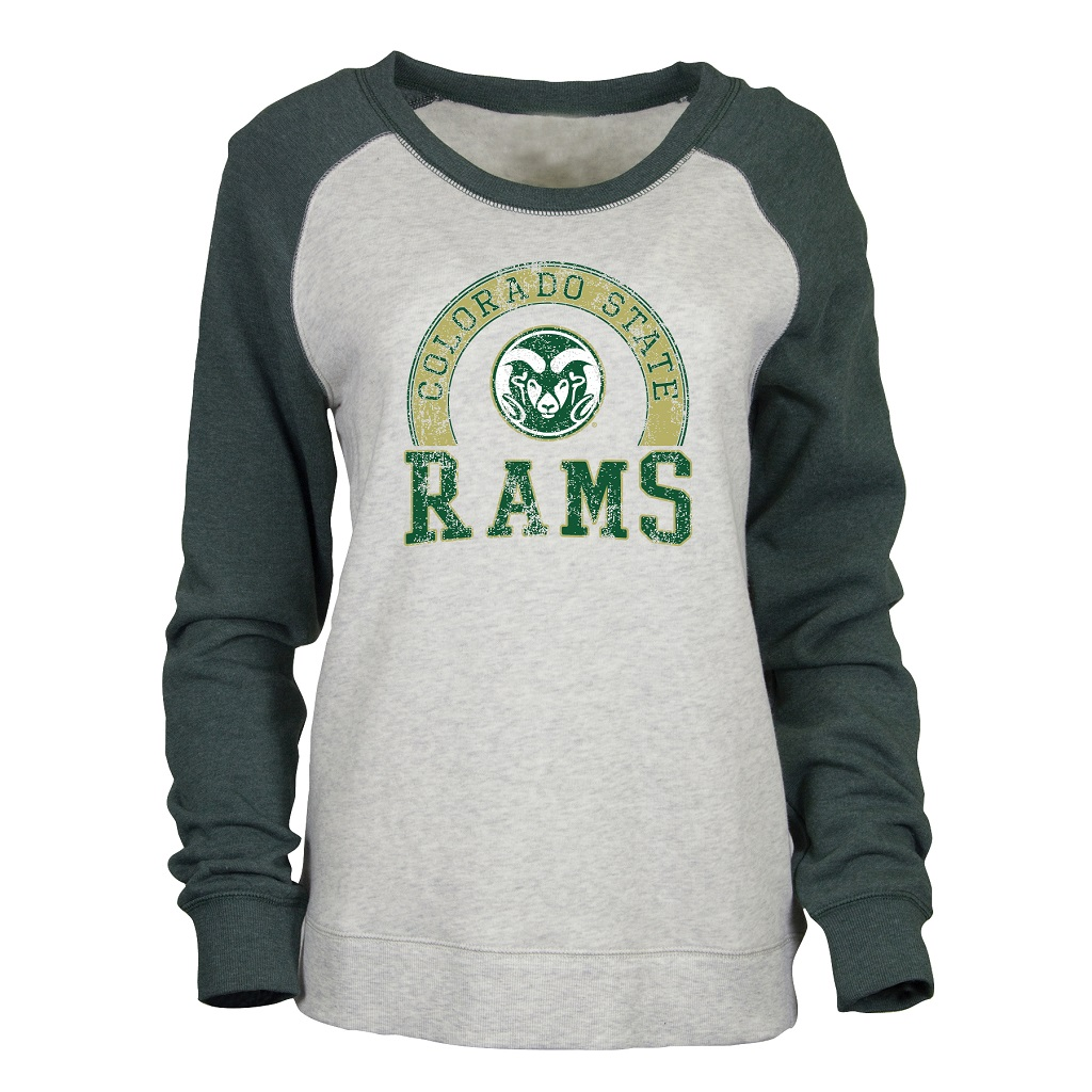 Image For Oatmeal and Green CSU Rams Cozy Crew Sweatshirt by Ouray