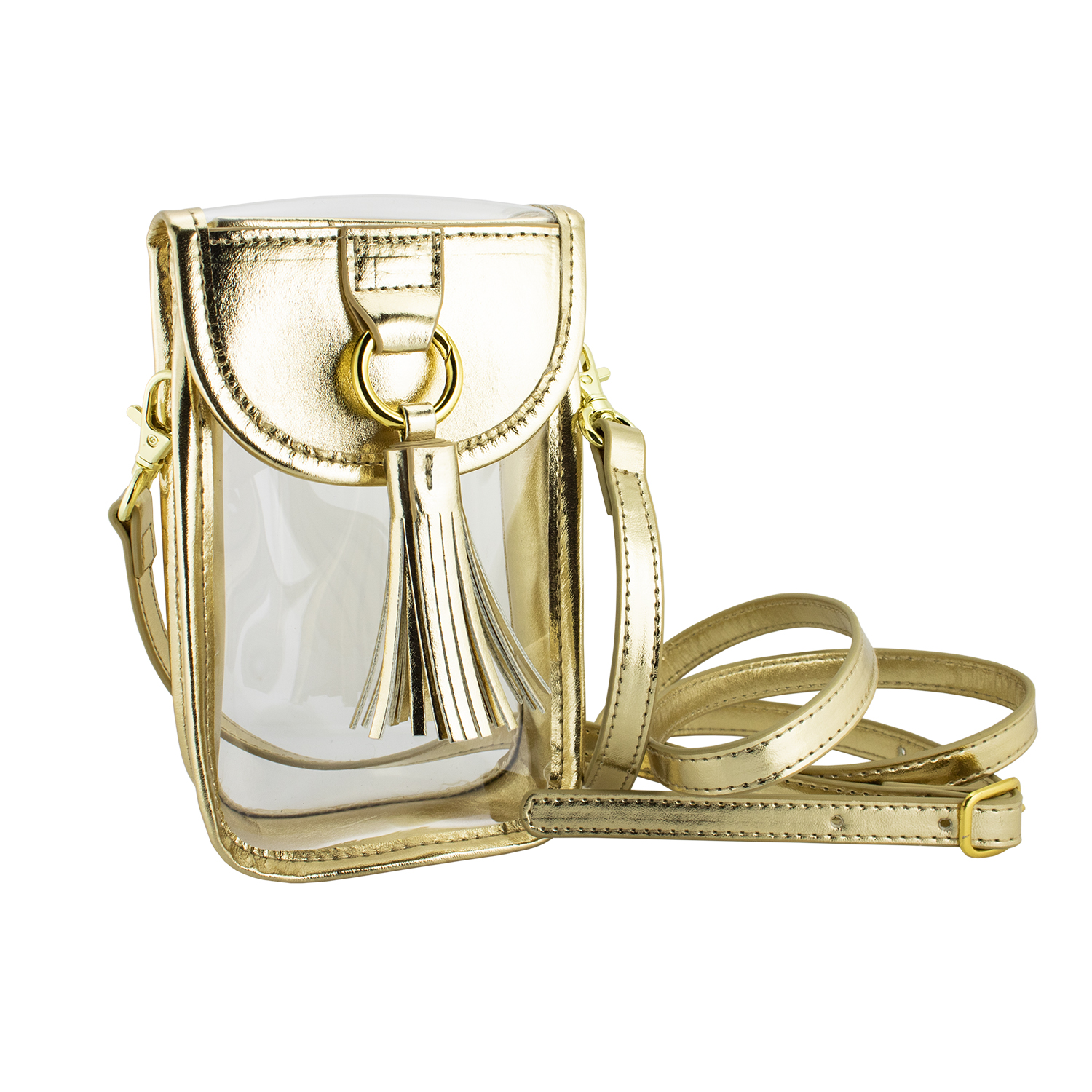 Image For Gold Cellphone Crossbody Clear Bag