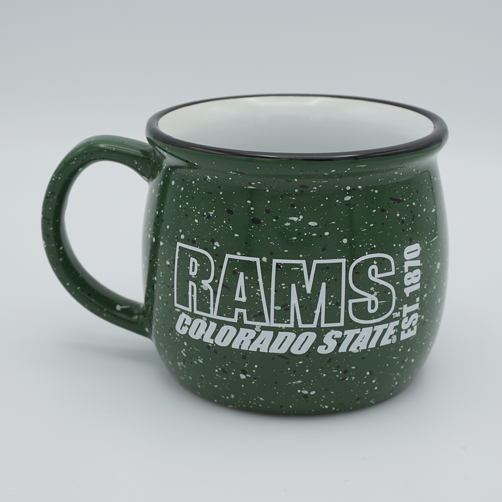 Cover Image For Green Speckled Colorado State Rams Colonial Mug