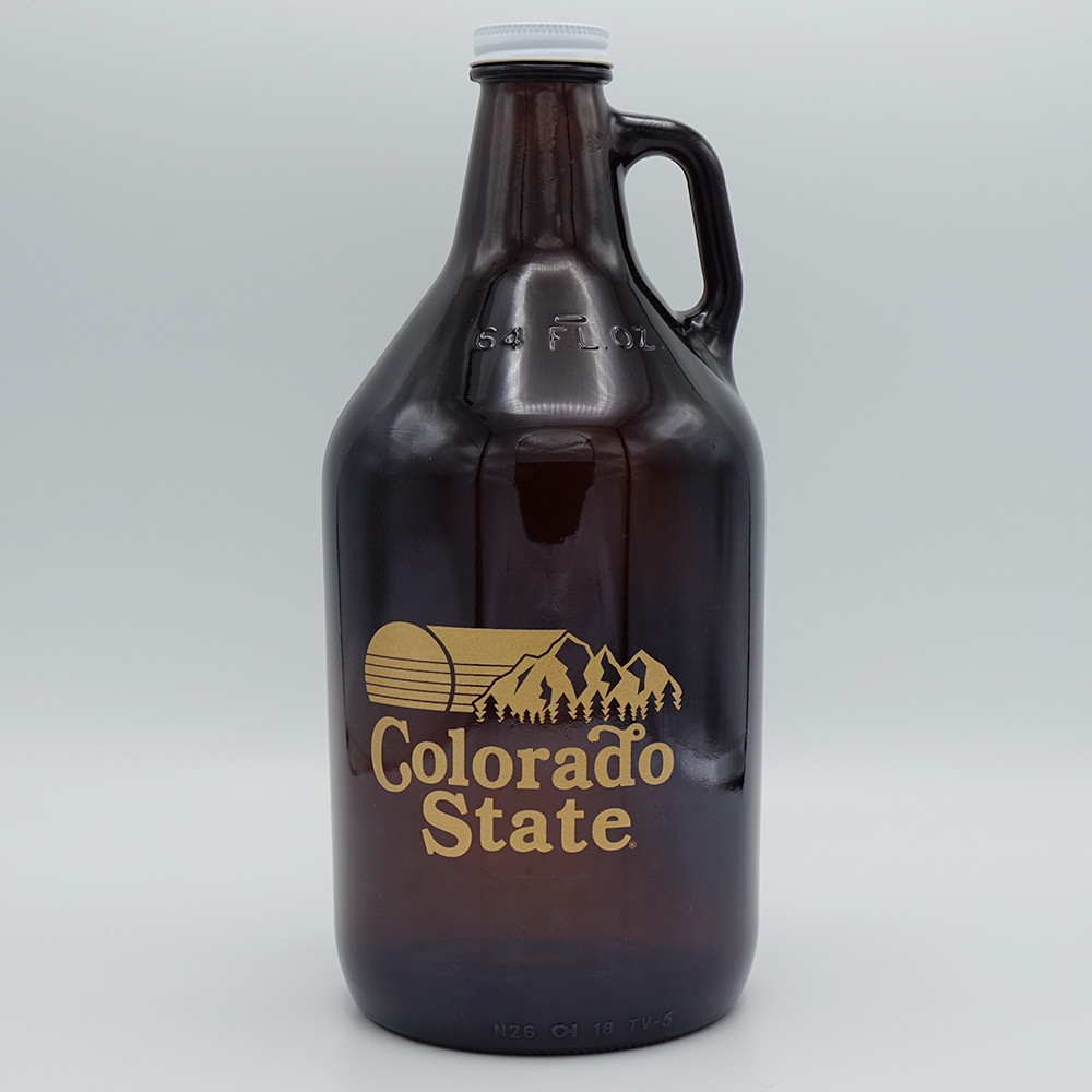 Cover Image For Colorado State 64 ounce Amber Growler Bottle