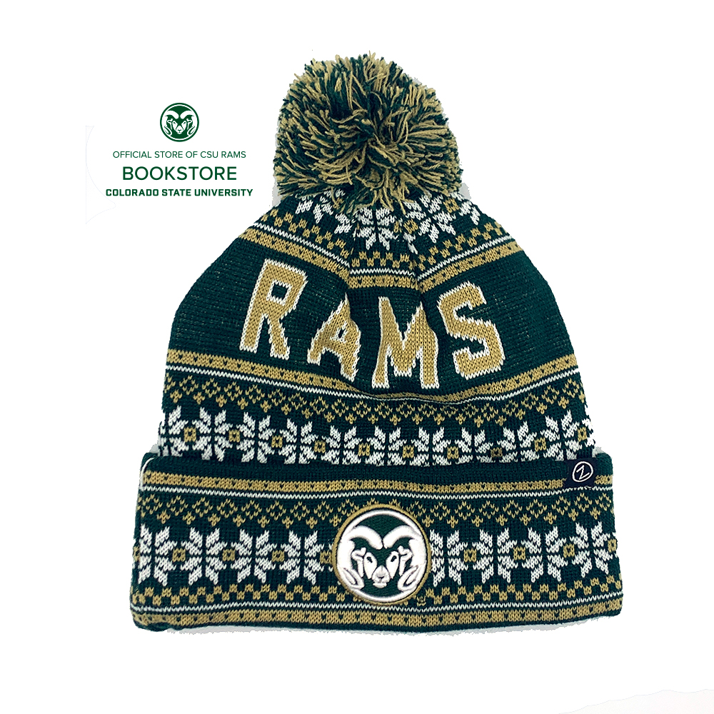 Image For CSU Rams Green and Gold Blitzen Pom Knit Cap by Zephyr