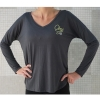 Charcoal CSU Drapey V-Neck Tee by Piko Image