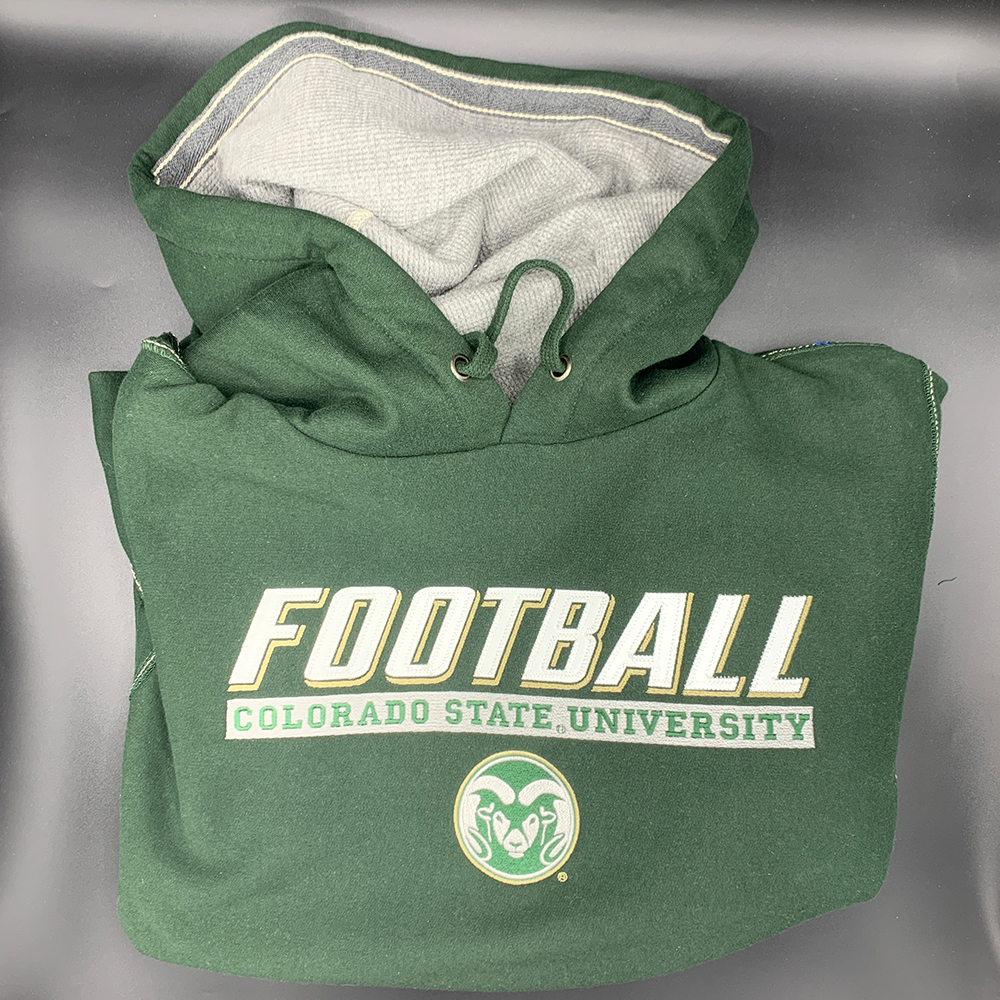 Image For Green CSU Rams Vintage Contrast Football Hoodie