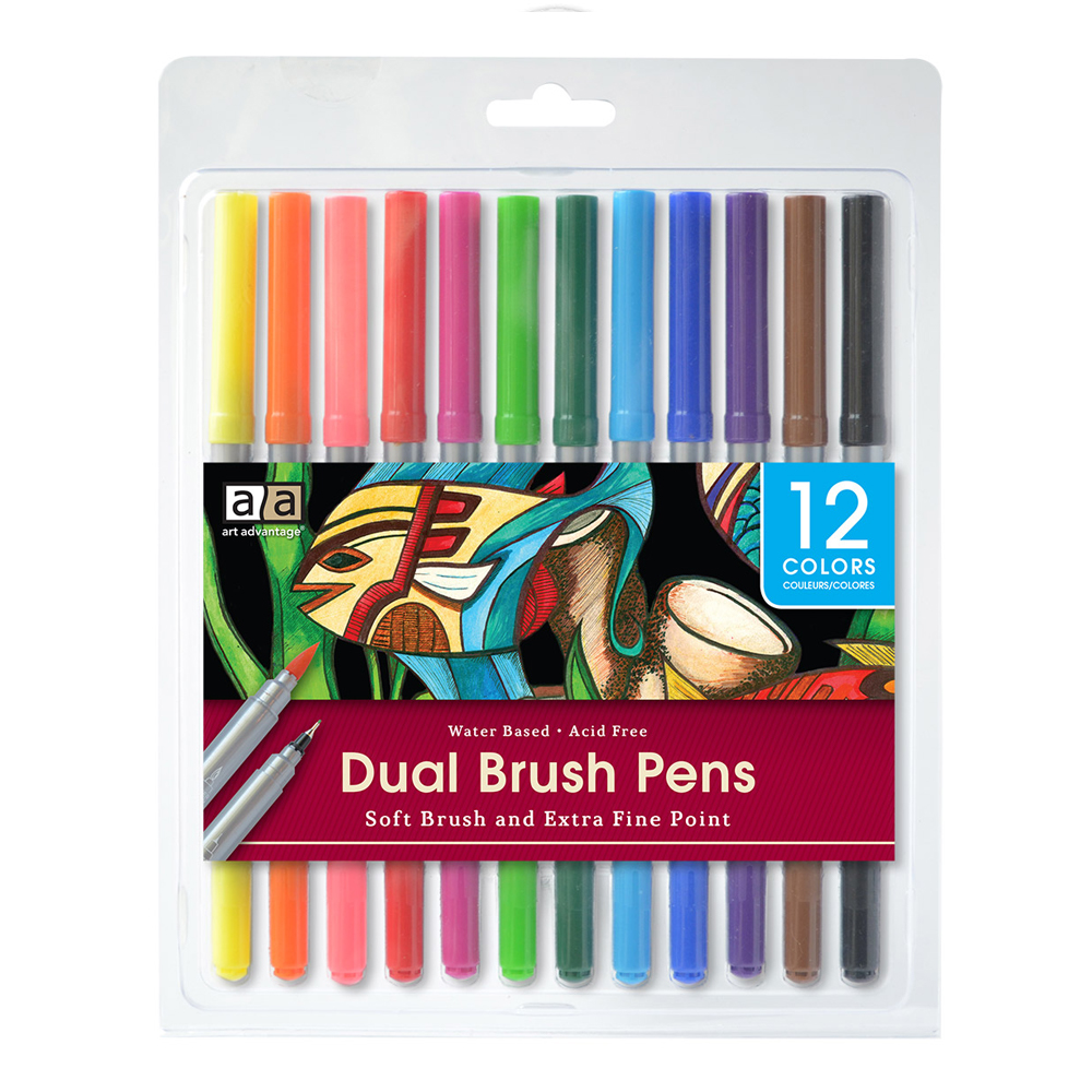 Image For Art Advantage Dual Brush Pens 12 Pack