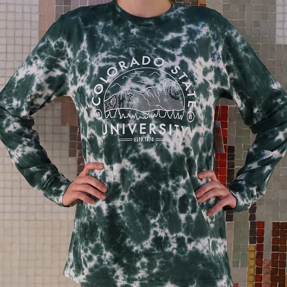 Image For Green Colorado State Tie Dye Long Sleeve by Uscape
