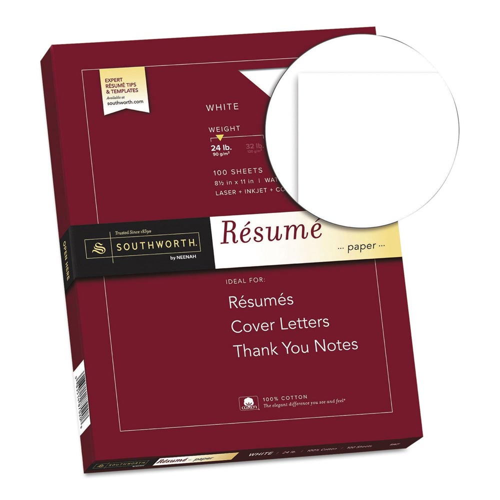 Cover Image For Southworth White Resume Paper 100 Count