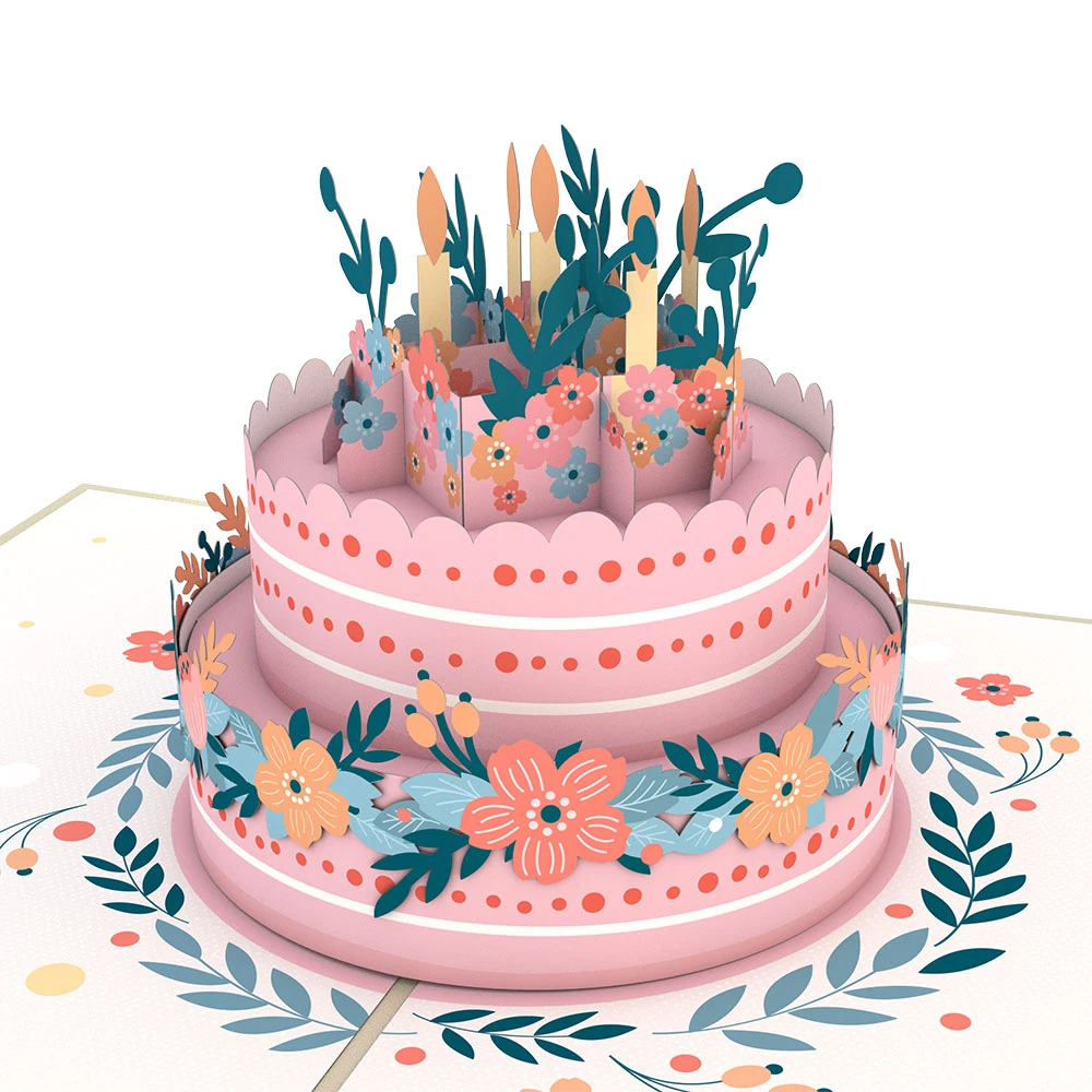 Cover Image For Floral Birthday Cake 3D Card by Lovepop