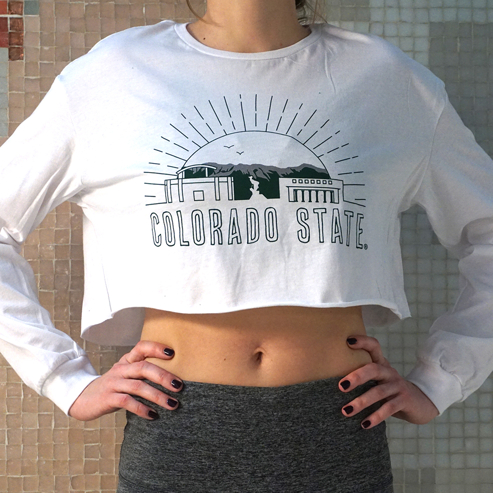 Image For White Colorado State Skyline Crop Top by Uscape
