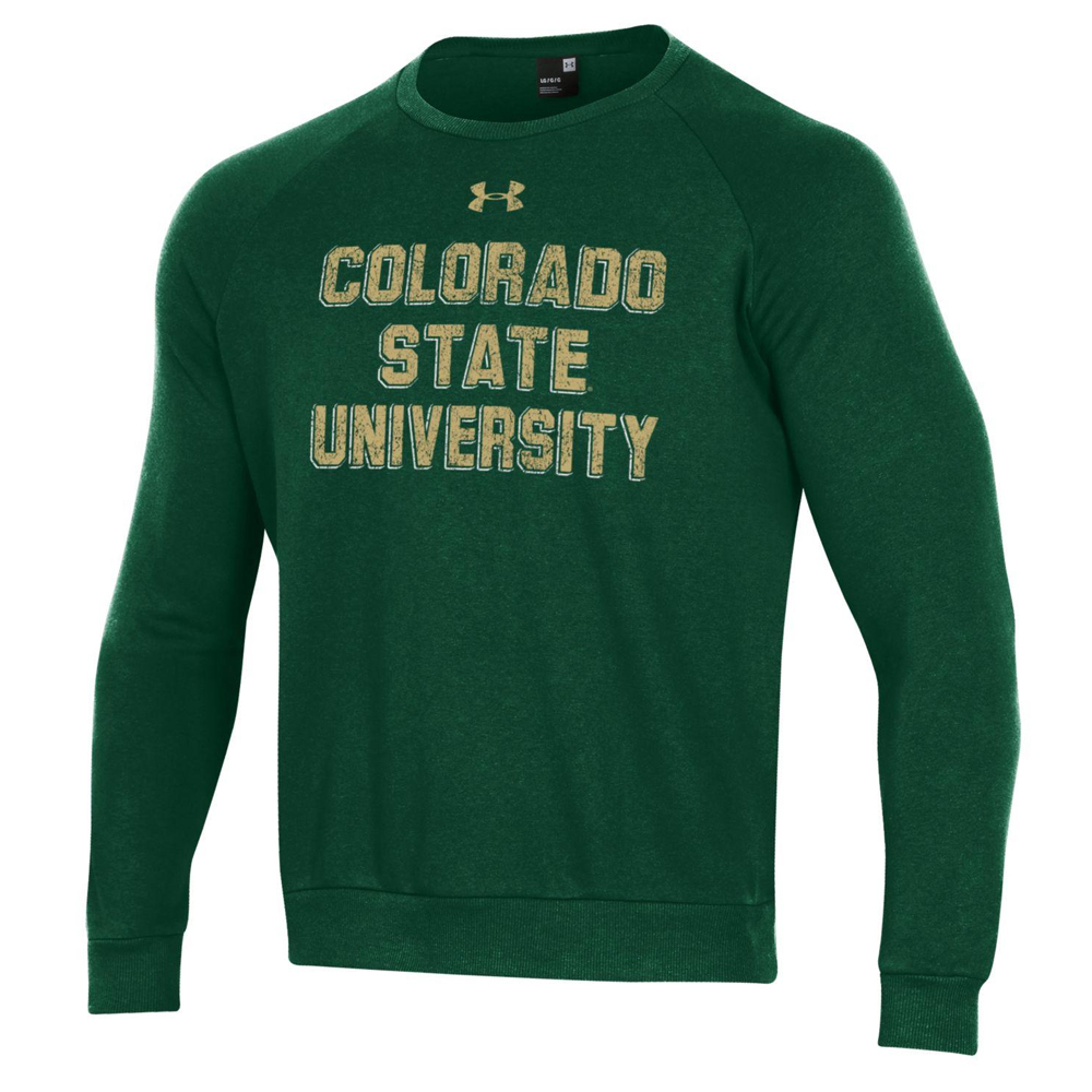 Cover Image For Green CSU Fleece Lined Crew Neck Sweater by Under Amour