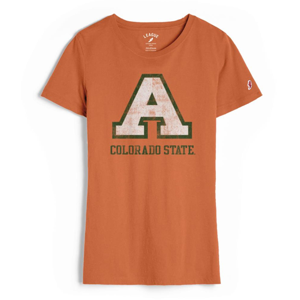 "Cover Image For Orange ""A"" Colorado State Women's T-Shirt by League"