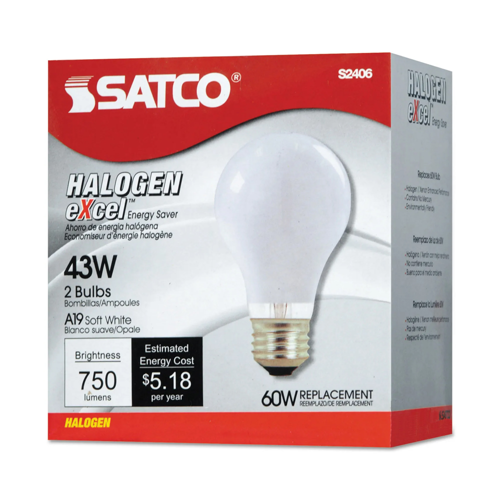 Image For Satco Halogen Excel 43W Two Pack
