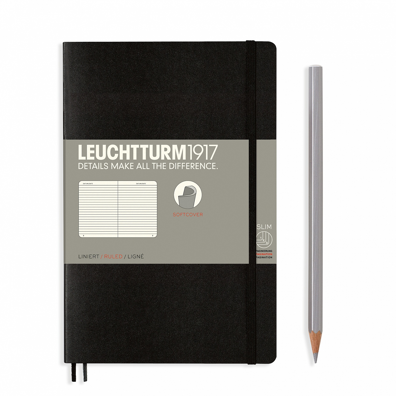 Image For Soft Cover Small Black Ruled Notebook by Leuchtturm1917