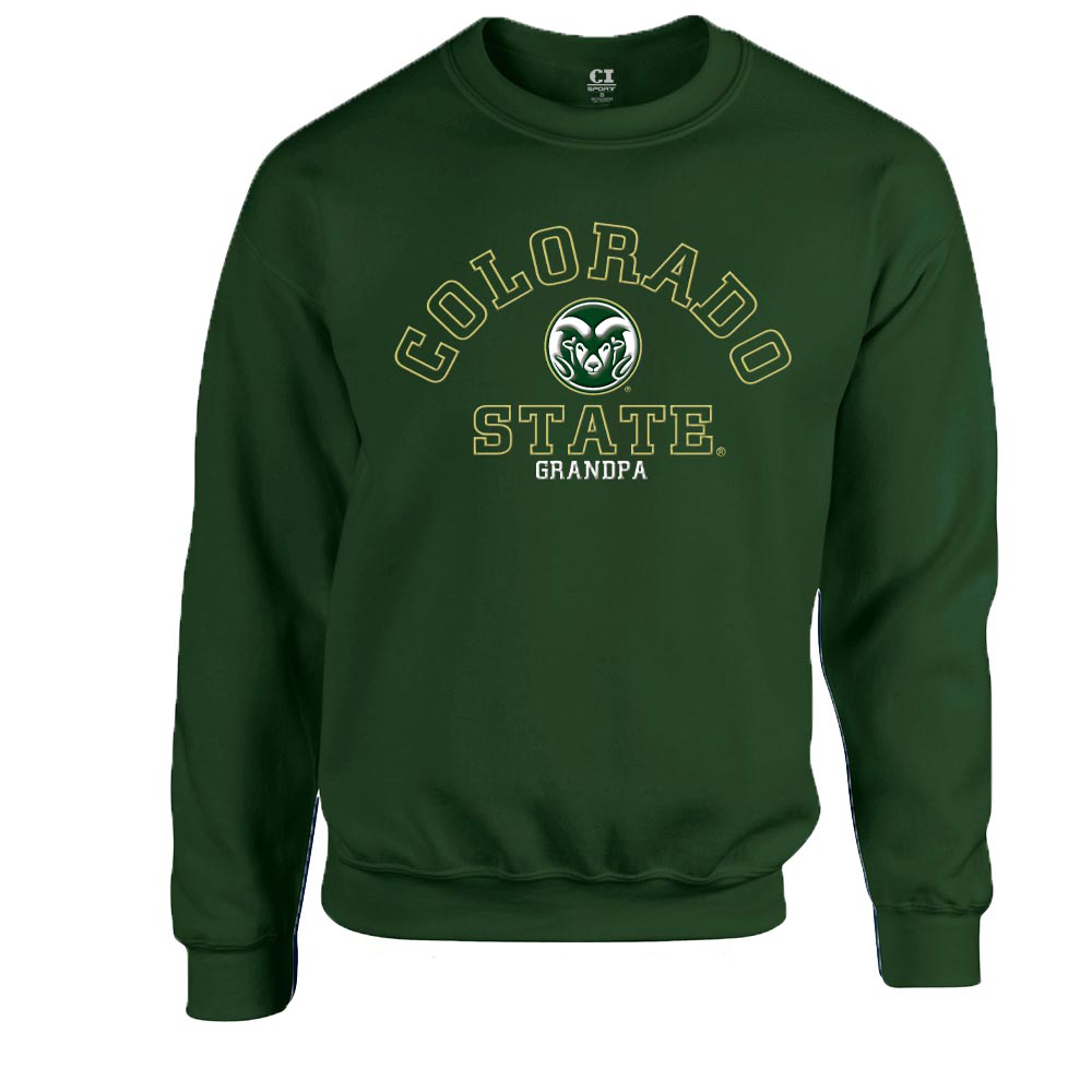 Cover Image For Green CSU Grandpa Crew Neck Sweatshirt by CI Sport