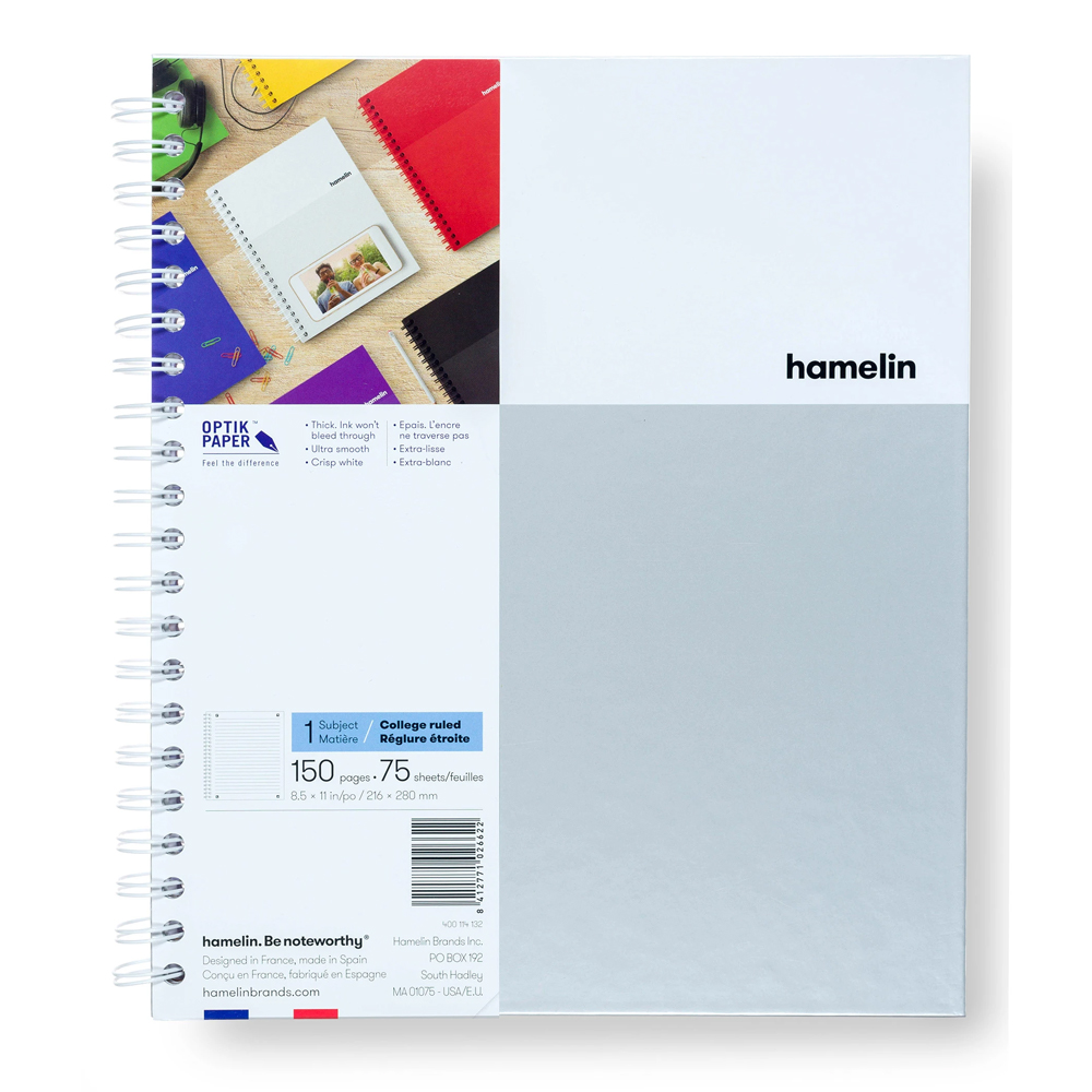 Image For White College Ruled One Subject Notebook by hamelin