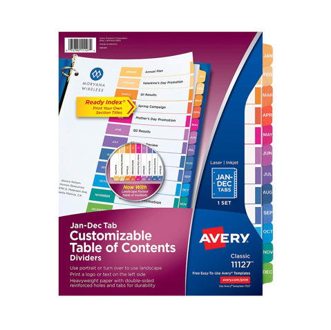 Image For Avery Jan-Dec Tab Customizable Table of Contents Dividers