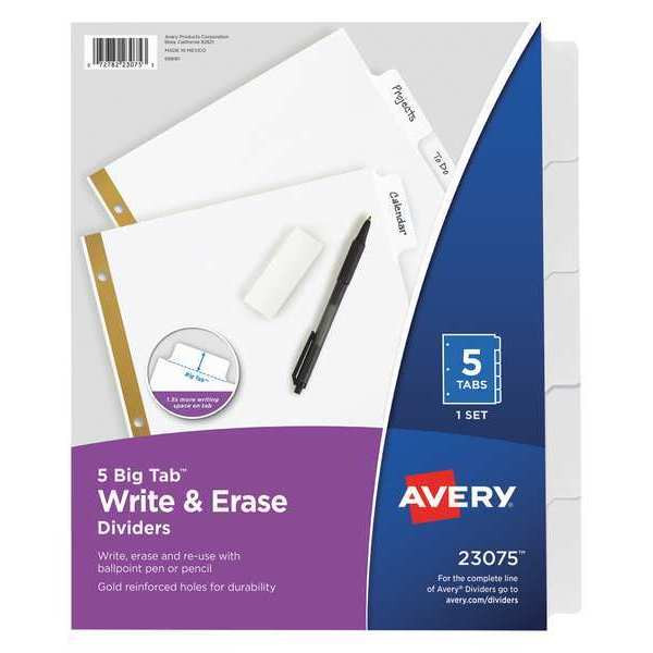 Image For Avery 5 Big Tab Write & Erase Dividers
